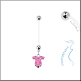 **BLOW OUT SALE** Maternity Pregnancy Navel Ring Pink Onesie 14G