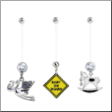 **BLOW OUT SALE** 3 Pack Maternity Pregnancy Navel Ring Stork, Baby On Board, Rocking Horse 14G