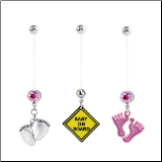 **BLOW OUT SALE** 3 Pack Maternity Pregnancy Navel Ring Pink Feet & Baby On Board 14G