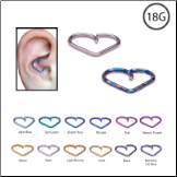 "Niobium Heart Design Ear Cartilage Rook Tragus Helix Jewelry 3/8"" 18G"