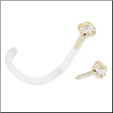 14KT Gold BioFlex Nose Screw 1.5mm CZ 18G