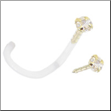14KT Gold BioFlex Nose Screw 2mm CZ 18G
