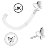 14KT White Gold BioFlex Nose Screw 3mm Butterfly 18G