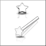 925 Sterling Silver Nose Stud Straight or L Bend Silver Choose Your Size Star