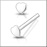 925 Sterling Silver Nose Stud Straight or L Bend Silver Heart 2.5mm