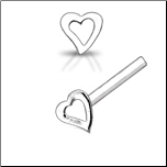 925 Sterling Silver Nose Stud Straight or L Bend Silver Hollow Heart