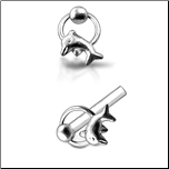925 Sterling Silver Nose Stud Straight or L Bend Silver Hoop Dolphin