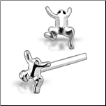 925 Sterling Silver Nose Stud Straight or L Bend Silver Frog
