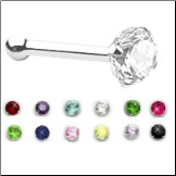 **BLOW OUT SALE** 14KT Solid White Gold Nose Bone 3mm CZ Choose Your Color 20G
