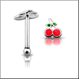 **BLOW OUT SALE** 925 Sterling Silver Nose Bone Plain Cherries