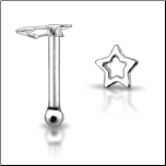 925 Sterling Silver Nose Bone Silver Hollow Star
