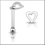 **BLOW OUT SALE**  925 Sterling Silver Nose Bone Silver Hollow Heart