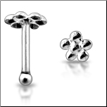 925 Sterling Silver Nose Bone Silver 3mm Flower