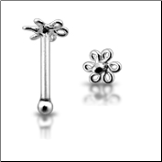 925 Sterling Silver Nose Bone Silver 3mm Flower Coil