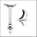 925 Sterling Silver Nose Bone Silver Moon