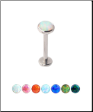 **BLOW OUT SALE** 316L Surgical Steel Labret Monroe Stud Ring 8mm Screw Post Choose Your Opal 16G