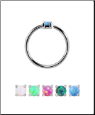 925 Sterling Silver Nose Ring Tragus Daith Helix Ear Cartilage Septum Hoop 1.5mm Faux Opal 20G