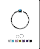 925 Sterling Silver Nose Ring Tragus Daith Helix Ear Cartilage Septum Hoop 1.5mm Stone 20G