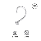 925 Sterling Silver Nose Screw Round Clear CZ 22G