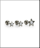 **BLOW OUT SALE** 3 PACK 316L Surgical Steel Ear Cartilage Helix Jewelry Stars 18G