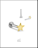 Titanium 14KT Yellow Gold Labret Style Nose Stud - Choose Your Size 3mm Star 18G