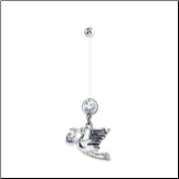 **BLOW OUT SALE** Maternity Pregnancy Navel Ring Stork 14G