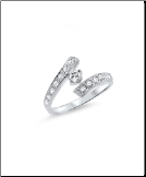 10KT Solid White Gold CZ Toe Ring
