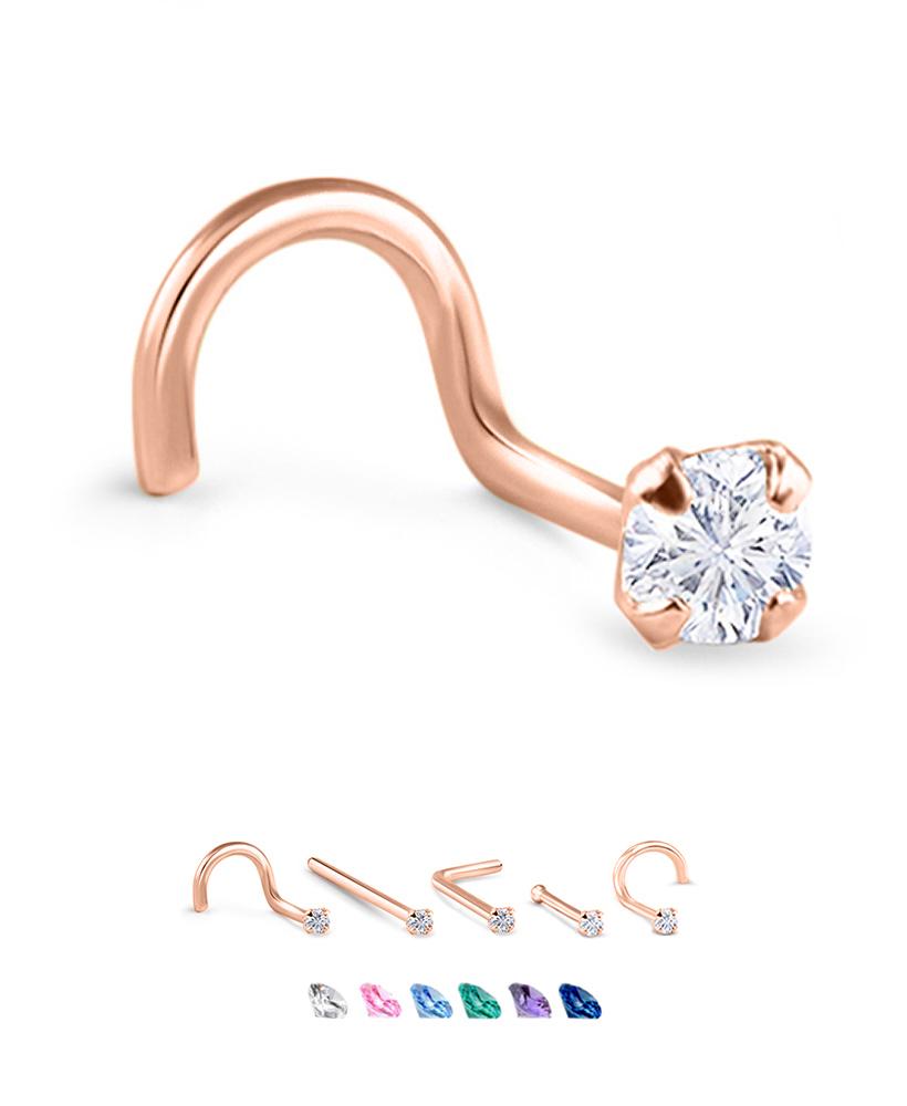 Pink CZ Nose Bone 9k Solid Gold 1.5mm Pink CZ Nose Stud 9k Solid Gold Stud 23 Gauge 9K Gold Nose Bone