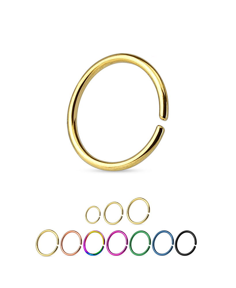 316L Surgical Steel Gold PVD Seamless Annealed Nose Ring Hoop Heart 20 Gauge 20G
