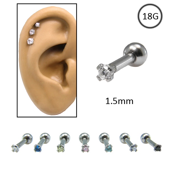 Ear Cartilage Jewelry 316l Surgical Steel Small 1 5mm Cz 18g
