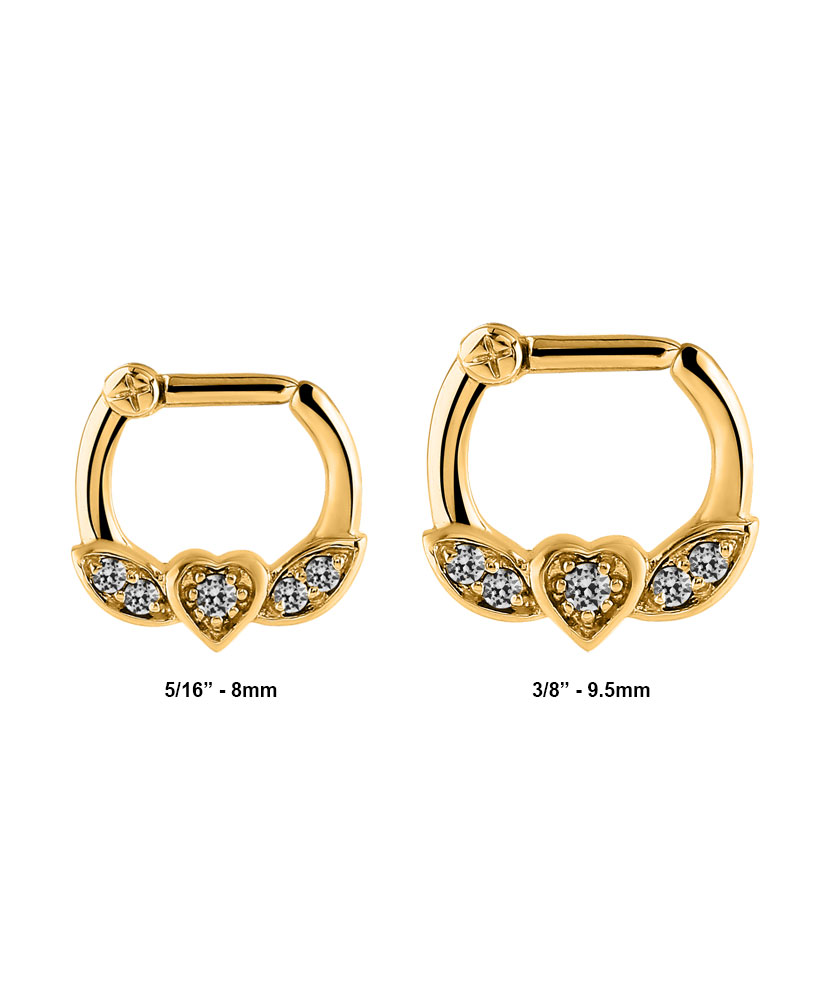 Gold 316l Surgical Steel Septum Clicker Choose Your Size 16g