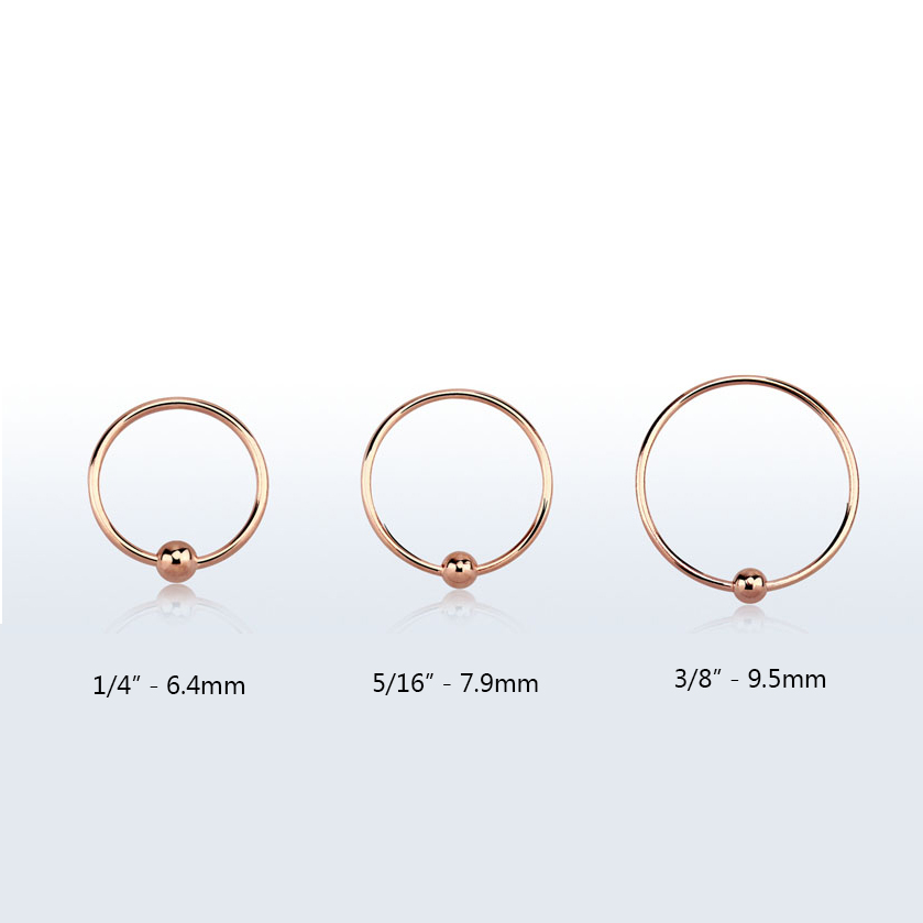 Nose Ring Hoop Rose Gold Plated Sterling Silver 2mm Ball Choose