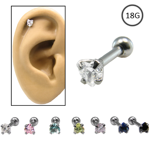 316l Surgical Steel Ear Cartilage Piece Featuring A 3mm Heart Design In Your Choice Of Color