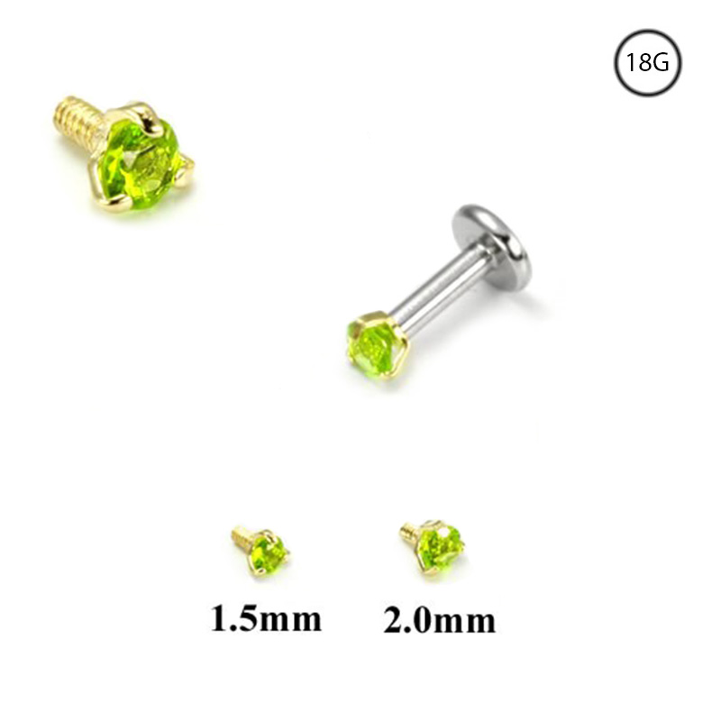 14K Yellow Gold Bioflex Labret Style Nose Stud or Nose Screw Monroe Push Pin Stud 5mm Flower Cluster 16G 18G