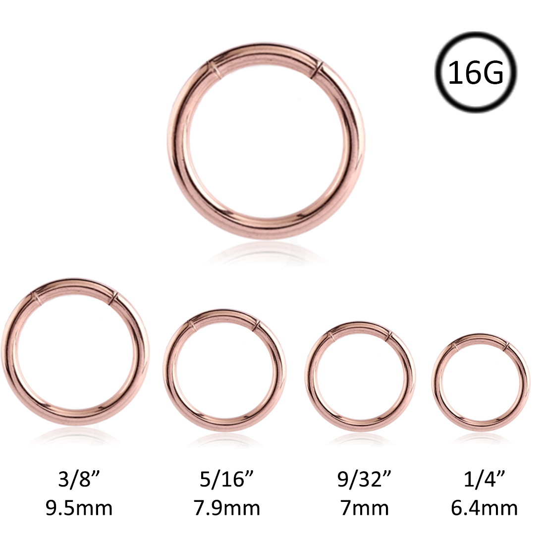 Segment Nose Ring Seamless Hoop Rose Gold Plated Surgical