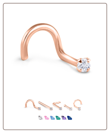 14K Rose Gold Nose Jewelry 1.5mm Round CZ -Choose Your Style