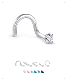 White Gold Nose Jewelry 1.5mm Square CZ -Choose Your Style