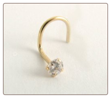14KT Gold Nose Screw, Ring, Genuine Diamond 2.5mm
