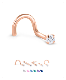 14K Rose Gold Nose Jewelry 2mm Round CZ -Choose Your Style