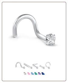 White Gold Nose Jewelry 2mm Square CZ -Choose Your Style