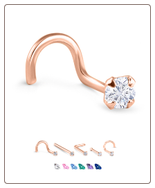 14K Rose Gold Nose Jewelry 3.5mm Round CZ -Choose Your Style