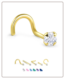 Yellow Gold Nose Jewelry 3.5mm Round CZ -Choose Your Style