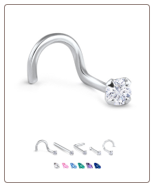 White Gold Nose Jewelry 3mm Round CZ -Choose Your Style
