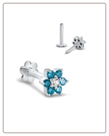 14KT White Gold Labret Style Nose Monroe Stud 5mm White and Blue Flower Genuine Diamonds 16G