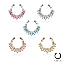 Fake Septum Clicker Hanger Clip On Non Piercing Nose Ring Hoop CZ