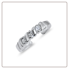 925 Sterling Silver Triple CZ Toe Ring