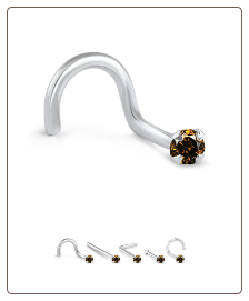 14K Yellow, White or Rose Gold Genuine Cognac Brown Chocolate Diamond Nose Ring