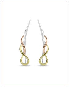 925 Sterling Silver 18K Gold & Rose Gold Plated Twist Ear Vine™ Pin Crawler Wire Stem 20G