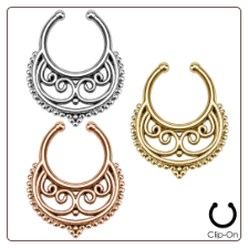 **BLOW OUT SALE** Fake Septum Clicker Hanger Clip On Non Piercing Nose Ring Hoop Crescent Swirls