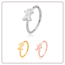 316L Surgical Steel Seamless Nose Ring Helix Daith Ear Cartilage Continuous Hoop Christmas Gingerbread Man Choose Your Color 20G